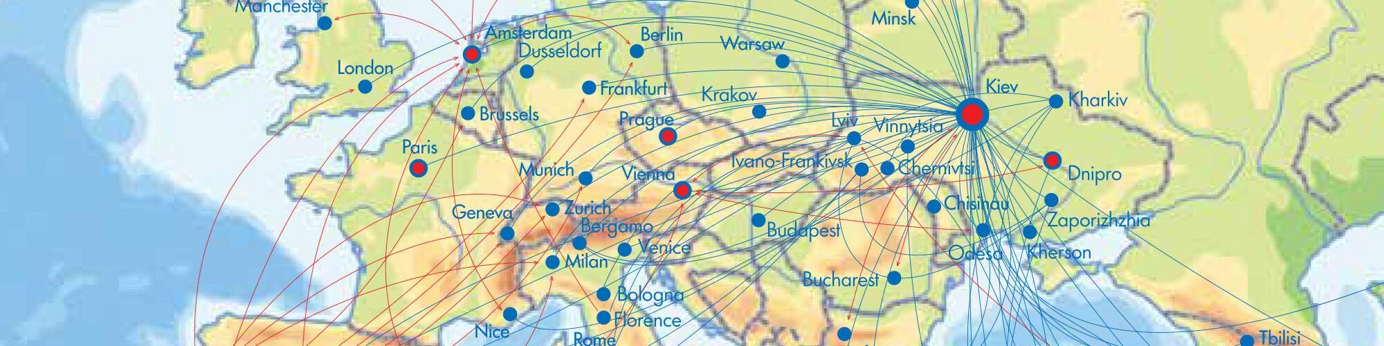 Air Routes Map – Ukraine International Airlines (UIA) (Deutschland)