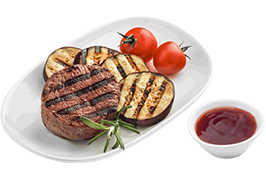 Beef fillet with grilled vegetables and a sauce 80/70/20 g UIA