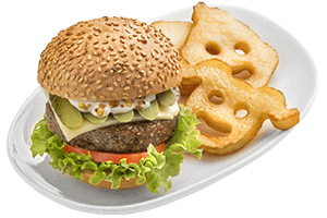 Kids burger with potato