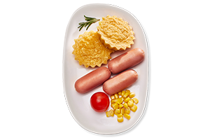 Scrambled eggs with sausages and maize 150/55/25/20 g UIA
